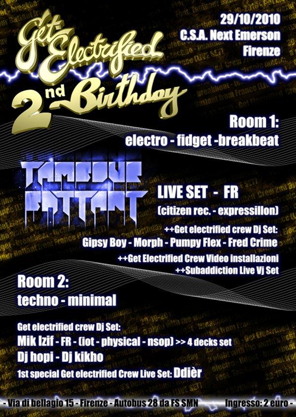 29-10-2010 - C.S.A. Next Emerson (FI) - Get Electrified Birthday 2.0 - serata di musica elettronica il 29 ottobre a firenze