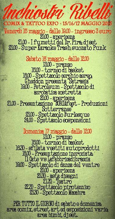 Programma 16 e 17 Maggio 2015 - Inchiostri Ribelli @ Next Emerson